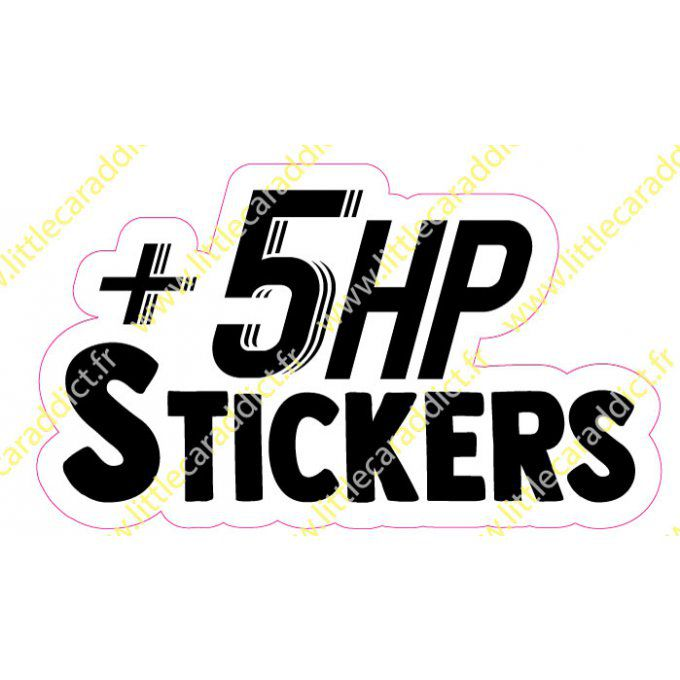 "Stickers ""+5hp stickers"""