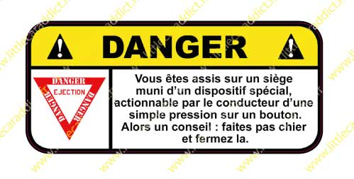 Stickers  Danger siège éjectable
