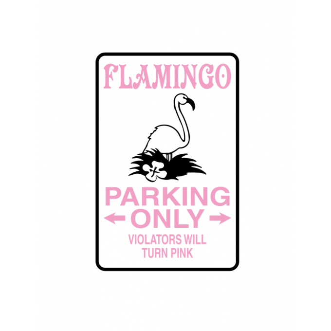 "Stickers ""Flamingo parking only "" double couleurs"