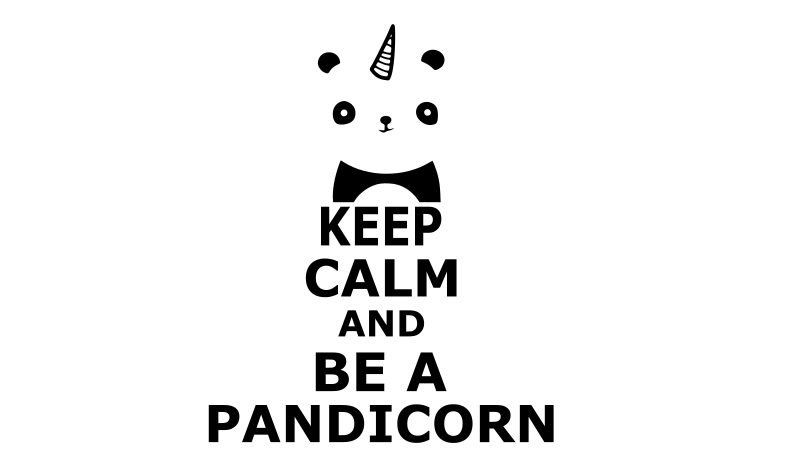 "Stickers ""Keep calm and be a pandicorn"""